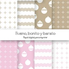 Pink and beige christmas paper / Papel para imprimir/ Digital paper PRINTABLES. €3,00, via Etsy.