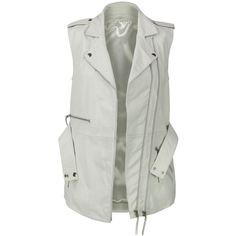 VIPARO White Lambskin Leather Long Biker Vest - Jamari ($185) ❤ liked on Polyvore featuring outerwear, vests, vest, jackets, tops, white, asymmetrical vest, long white vest, lambskin leather vest and studded waist belt