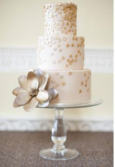 gold confetti cake from The Cloudberry Bakery | Read more on http://onefabday.com/polka-dot-wedding-cakes/