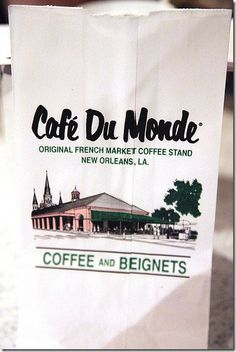 Cafe De Monde in New Orleans! I remember walking in the rain pushing Mason in a stroller to get to this place because we HAD to go there according to the bellman at the hotel. And yes, it was good!