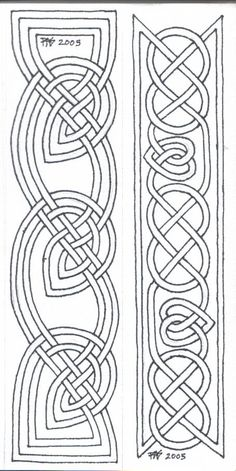 Pigma Micron size 01 on paper, two 1 x designs Two bookmarks of a group I'm doing for gifts for my housemates. Please feel free to print these o. Bookmarks Line Art 1 Viking Embroidery, Embroidery Patterns, Quilt Patterns, Zentangle Patterns, Celtic Symbols, Celtic Art, Celtic Knots, Mayan Symbols, Egyptian Symbols