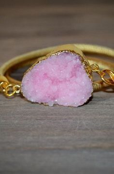 Pink and Gold druzy double wrap bracelet sparkling gemstone OOAK