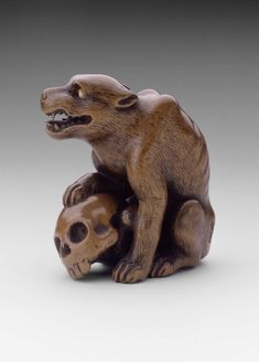 Wolf and Skull netsuke by Tomochika | Museum of Fine Arts, Boston