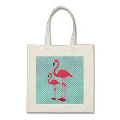 Girly Pink Teal Chevron Elegant Cute Flamingos Tote Bag
