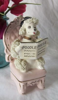 Vintage Ceramic Noodle Poodle Pink chair reading the by SuzettaS, $25.00