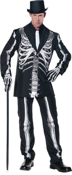BONE DADDY SKELETON ADULT MENS COSTUME Classy Black Suit Theme Party Halloween #Underwraps