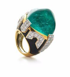 David Webb ~ Manhattan Minimalism Ring with a sugarloaf cabochon emerald, brilliant-cut diamonds, black enamel, 18K gold, and platinum