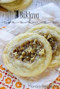 Baklava Cookies - filled with nuts and they remind you of baklava. Turn the traditional Baklava recipe into a delicious treat everyone will love. Cookies Receta, Yummy Cookies, Baklava Cookies Recipe, Greek Cookies, Honey Cookies, Shortbread Cookies, Sugar Cookies, Just Desserts, Dessert Recipes