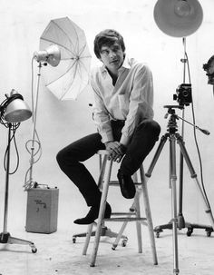 David Bailey is pictured in his studio in the mid-1960s