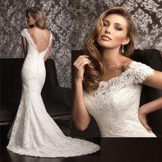 2013 White Ivory Scoop Neckline Backless Cap Sleeve Lace Mermaid Wedding Dress | eBay