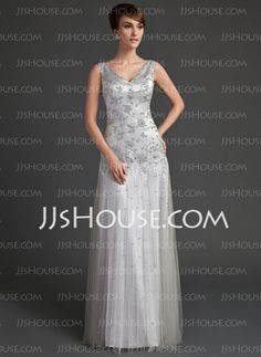 Mother of the Bride Dresses - $168.99 - A-Line/Princess V-neck Floor-Length Tulle Charmeuse Mother of the Bride Dress With Lace Beading Sequins (008005647) http://jjshouse.com/A-Line-Princess-V-Neck-Floor-Length-Tulle-Charmeuse-Mother-Of-The-Bride-Dress-With-Lace-Beading-Sequins-008005647-g5647