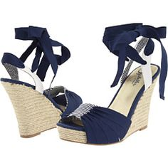 I love ribbon-tie wedges, and I've been looking for navy summer shoes to go with a couple outfits. These might be so tall as to make me look ridiculous, but I'm willing to give it a shot.