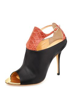 Alberto Moretti Red Exotic Skin Effekt & Black Leather Ankle Boots Spring 2014 #Shoes #Heels