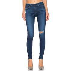AG Adriano Goldschmied The Farrah Skinny Denim ($139) ❤ liked on Polyvore featuring jeans, blue jeans, destructed skinny jeans, distressed jeans, super skinny jeans and torn skinny jeans