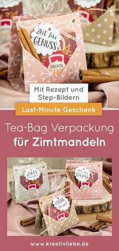 Last-Minute DIY: Tea-Bag Verpackung für Zimtmandeln - Kreativliebe Merry Little Christmas, Christmas Diy, Diy Tea Bags, Create Yourself, Box, Cinnamon Almonds, Christmas Vacation, Last Minute Gifts, Present Wrapping