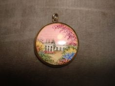 "Vintage Scenic Enameled Silver Plated LOCKET Pendant ~ Hand Painted CASTLE Landscape 99.95Scene ~ 1-1/8"" wide by PastPossessionsOnly on Etsy"