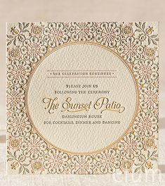 DARJEELING | Elum Couture Vol. 3, Letterpress Reception Cards | Elum Designs, Letterpress Stationery, Invitations & Curator of Designer Paper Goods. Nothing short of small works of art. Yellow, pink, gray, whimsical wedding, ethereal wedding, bohemian wedding, romantic wedding, Indian wedding, elaborate mosaic tiling, stained glass works, captivating, ode to bespoke craftsmanship