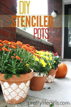 How to stencil a gorgeous clay pot for fall