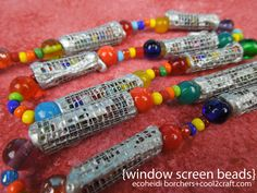 EcoHeidi Borchers has dreamed up some super cool window screen beads! Featured on Cool2Craft DIY crafts.