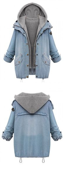 DETAILS: COLLAR:Hooded COLOR:Blue DETAIL:Zipper TYPES:Denim coats This Blue Hooded Zipper Rope Long Sleeve Denim Coat crafted in denimnon-stretchable material please hand wash cold featuring hooded de