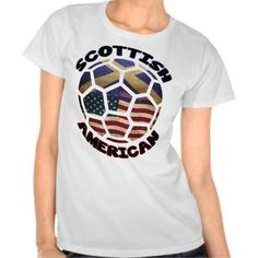 Scottish American Soccer Ball T-shirts. If you love  #soccer, here's a design just for you! To see this design on a range of other products, please visit my store: www.zazzle.com/celticana*/ #ScottishAmerican #ScotsAmerican