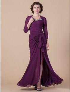 Elegant Sheath/Column V-neck Floor-length Chiffon Mother of the Bride Dress With A Wrap