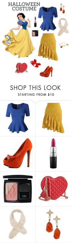 """""""Apple"""" by gladys-hoffman ❤ liked on Polyvore featuring Disney, LE3NO, Chicwish, MAC Cosmetics, Christian Dior, Badgley Mischka, Paul & Pitü Naturally and Alex and Ani"""