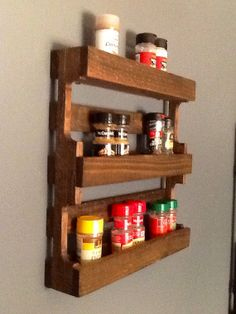 Mini Pallet Spice Rack by HomeDco on Etsy, $60.00. I could replicate this for sooooo much cheaper.