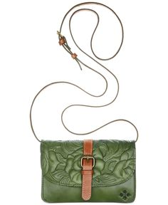 Patricia Nash tooled rose Torri crossbody bag — A touch of flower power for the weekend. And the brown and green contrast… how could you not love a good earth tone combo?