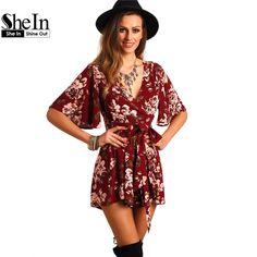 Shein cortos mamelucos del mono de las señoras del verano rojo profundo atractivo del v cuello de manga corta floral cintura del lazo del mono ocasional