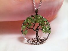 Tree Of Life Necklace Green Peridot Pendant Dark Brown Trunk On Silver