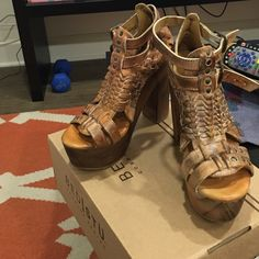 NWT Bed Stu Cindy Heels in Tan Rust These are brand new, never worn and still in the box Bed Stu heels. The color is tan rust and size 7. I'm usually a true 7.5 and these fit me perfectly. Bed Stu Shoes Heels