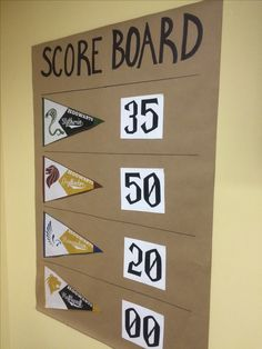 Scoreboard for Triwizard Tournament Events - Harry Potter themed events - retro pennants for each house