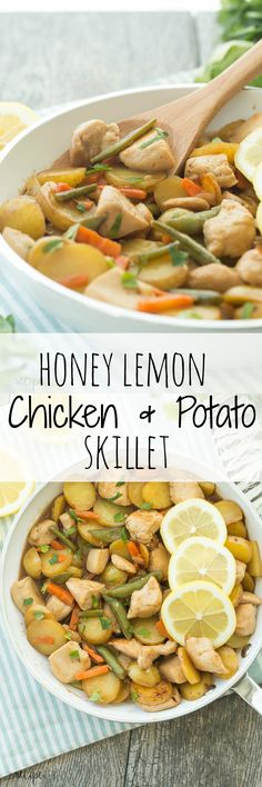 Honey Lemon Chicken and Potato Skillet: chicken and potatoes are cooked together in one skillet, then simmered in an easy homemade honey lemon sauce, ready in 30 minutes!
