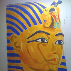 King Tutt Mural, I painted the Tutt and the students then painted their hieroglyphs around it