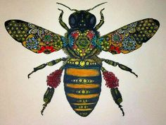 A honey bee from Solwind Art. Queen Bee Tattoo, I Love Bees, Bee Art, Insect Art, Bee Design, Save The Bees, Bees Knees, Queen Bees, Bee Keeping