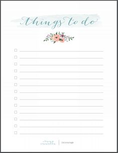 Free Printable Things To Do Notepaper