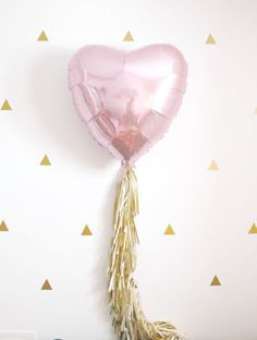 Valentines Day Pink Heart Tassel Balloon, Dusty Rose Blush and Gold Party Decor, Photo Booth Prop, Wedding Decorations