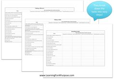 Task Analysis charts for Personal Hygiene Skills