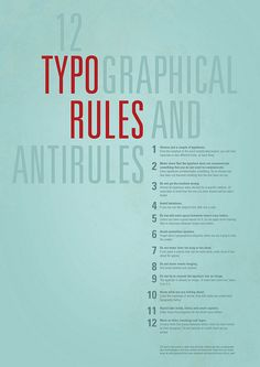 12 Typographical Rules and Anti-Rules