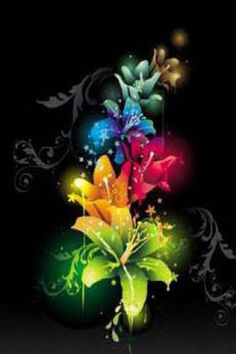 rainbow flowers wallpaper paintings - photo #21