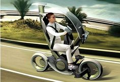 futuristic_bmw_scooter_city. A re-design of a motorscooter by BMW.