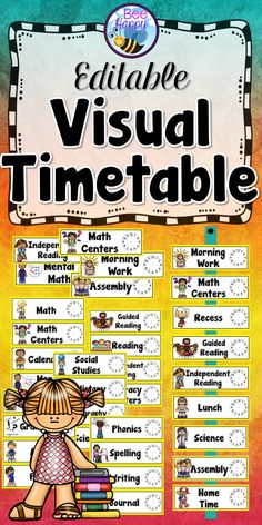 This editable visual timetable (schedule) includes 56 different cards with clocks. The clocks have been left blank so that you may draw in the hands according to your own classroom timetable. This will provide a visual outline of the day for the children to follow. Simply print off the cards you need, cut the cards out and fill in the clocks. Laminating them will ensure durability.