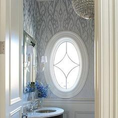 Blue and Silver Powder Room with Silver Ikat Wallpaper