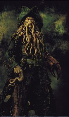 Davy Jones is a character in the Pirates of the Caribbean feature film series. He is the captain of the Flying Dutchman. Pirate Art, Pirate Life, Pirate Ships, Pirate Woman, Captain Jack Sparrow, Johnny Depp, Film Pirates, On Stranger Tides, Flying Dutchman