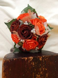 Beautiful handmade orange and brown, (Polifoam roses)  wedding bouquet  US$36.64