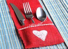 Burlap Utensil Holder - The Best 20 DIY Decoration Ideas for Romantic Valentine's Day