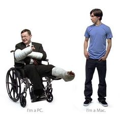 A celebrity actor playing an Apple #hipster douche, trying to look cool alongside a disabled character representing Apple's vision of a Microsoft douche.