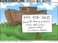 The ark is for sale. Sign out front advertising Funny Church Memes, Funny Church Signs, Church Humor, Funny Signs, Funny Memes, Hilarious, Christian Comics, Christian Cartoons, Funny Christian Memes