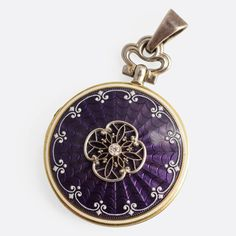 Edwardian Purple Guilloché Enamel Diamond Locket | From a unique collection of vintage pendant necklaces at https://www.1stdibs.com/jewelry/necklaces/pendant-necklaces/
